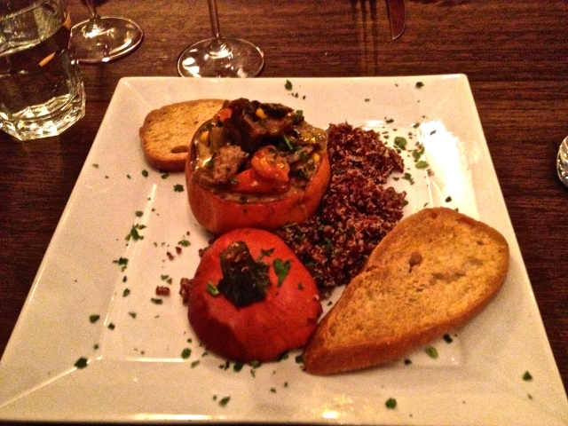 Chipotle mushroom stew in pumpkin at Pasqual's, Santa Fe