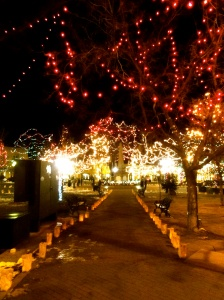 Santa Fe Plaza lit up for the holidays