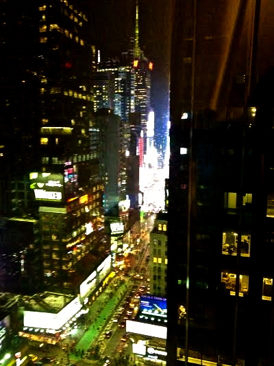 Times Square through the window